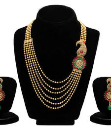 Buy Sukkhi Emerald Ruby Six String Gold Plated Blossomy Necklace Set black-friday-deal-sale online