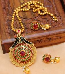 Buy Multicolor gold plated agate necklace set south-indian-jewellery online