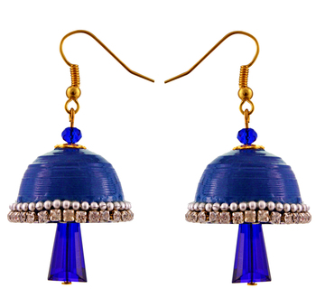 Dark blue teracotta and dokra jhumkas