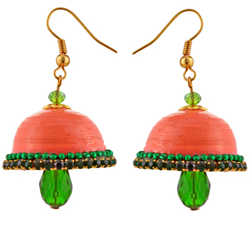 Orange teracotta and dokra jhumkas