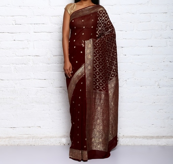 brown hand woven organza Saree