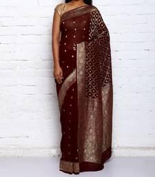 Buy brown hand woven organza Saree hand-woven-saree online