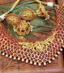 Buy Beautiful gold plated temple necklace set south-indian-jewellery online