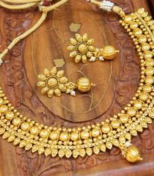Buy Gorgeous designer gold plated  necklace set black-friday-deal-sale online