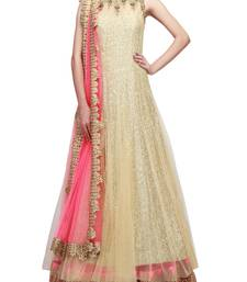 Buy Fabron golden embroidered net semi stitched salwar party-wear-salwar-kameez online