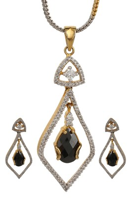 PEACE Collection Black Studded Drop Shimmer Pendant Set For Women