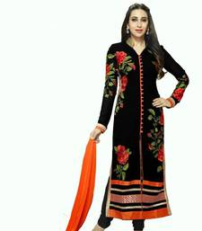 Buy Black georgette embroidered semi stitiched salwar with dupatta pakistani-salwar-kameez online