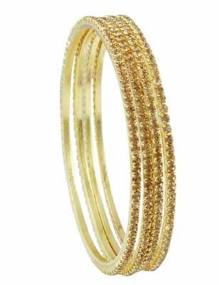 Golden Beige Polki Stones Bangles Jewellery for Women - Orniza