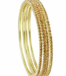 Buy Golden Beige Polki Stones Bangles Jewellery for Women - Orniza bangles-and-bracelet online