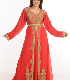 Buy Red georgette embroidered abaya eid-abaya online