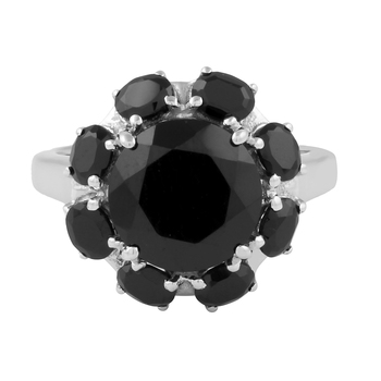 Spinel black silver plated rings