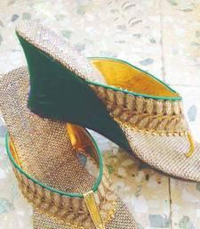 Buy green plain jute footwear eid-footwear online