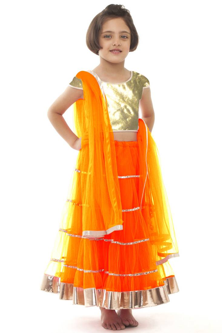 Buy Orange Net Plain Kids Lehenga Online