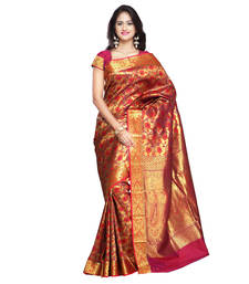 Buy Red woven art silk saree With Blouse brocade-saree online