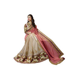 Buy Orange and Beige embroidered Georgette saree With Blouse wedding-saree online