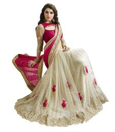 Buy Pink and White embroidered georgette and Net saree With Blouse wedding-saree online