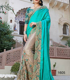 Buy TURQUOISE embroidered SILK saree With Blouse party-wear-saree online