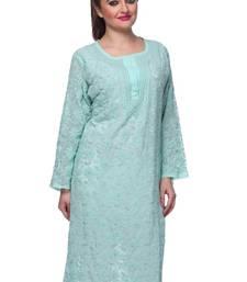 Buy green faux georgette embroidered lucknow chikankari kurti heavy-work-kurtis online