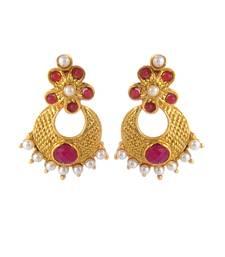 Buy Traditional & Ethnic Pearl Polki Copper Earring Set_Pink danglers-drop online