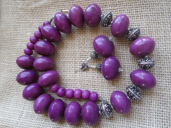 Purple stone necklace-sets
