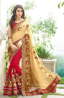 Cream and Red embroidered georgette saree With Blouse
