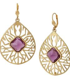 Buy 18k gold plated filigree purple stone dangling earring for women danglers-drop online