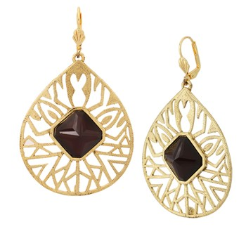 18k gold plated filigree black stone dangling earring for women