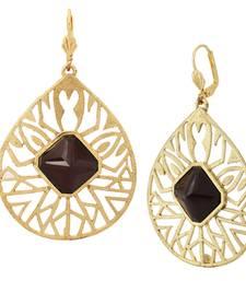 Buy 18k gold plated filigree black stone dangling earring for women danglers-drop online