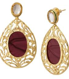 Buy 18k Gold Plated Purple Mauve Stone Kundan Dangling Earring For Women danglers-drop online