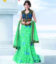 Buy Sea Green embroidered Net unstitched navratri-lehenga-chaniya-choli navratri-lehenga-chaniya-choli online