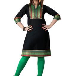 Buy Black cotton plain kurti cotton-kurtis online