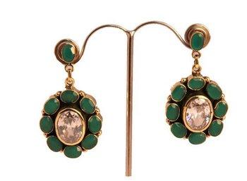 Emerald & Clear Quartz earrings