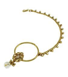 Buy Golden Beige Polki Stones Nose Ring Nath Jewellery for Women - Orniza nose-ring online