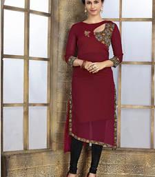 Buy Red georgette embroidered kurti kids-rakhi online