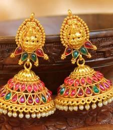 Buy Gorgeous high gold  plated geru polish antique jumkas south-indian-jewellery online