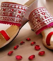 Buy Red fancy fabric plain women footwear eid-footwear online