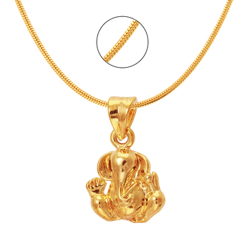 Ganesh Gold Plated Religious God Pendant with Chain for Men & Women