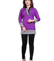 Buy Purple  american crepe printed kurti short-kurti online