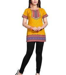 Buy Yellow american crepe printed kurti fashion-deal online