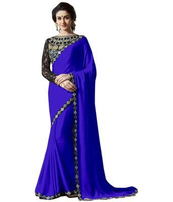 Satin saree by fabkaz (Blue)