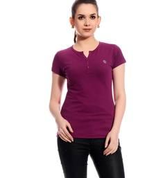 Buy Purple  printed Cotton tops top online