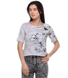 Buy Grey printed cotton tops crop-top online
