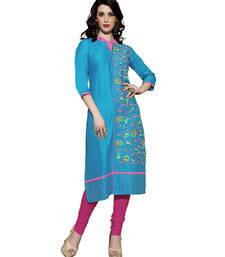 Buy Blue cotton embroidered kurti kurtas-and-kurti online