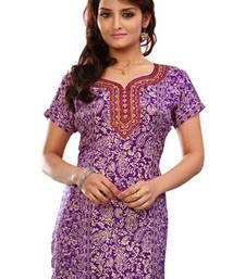 Buy Purple french jacquard printed kurti short-kurtis online