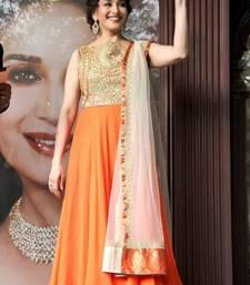 Buy Madhuri Dixit in long orange anarkali suit anarkali-salwar-kameez online