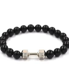 Buy Bracelet for Men Boys Black Crystal Dumbbell Funky Bead men-bracelet online