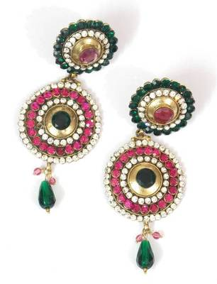 Traditional And Ethnic, Pink Green And Zircon Earring- Indian bridal wear collection