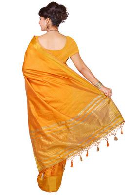 mustard woven tussar silk saree With Blouse