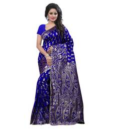 Buy blue embroidered banarasi silk saree With Blouse black-friday-deal-sale online