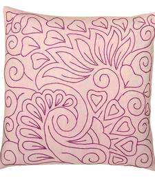 Buy Pink cotton handmade embroidered cusion cover cushion-cover online